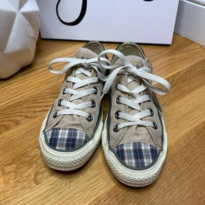 Converse Plaid and Suede All Star Sneakers